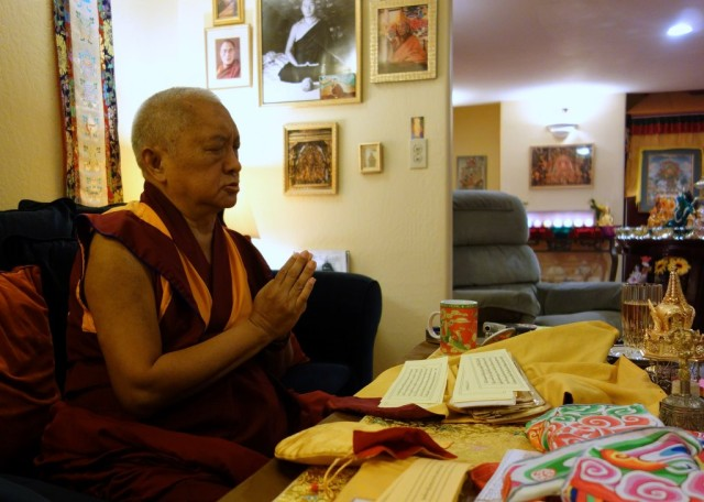 Lama Zopa Rinpoche praying at Kachoe Dechen Ling, Aptos, California, US, November 11, 2013. Photo by Ven. Roger Kunsang.