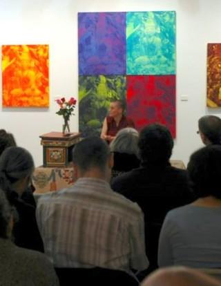Geshe Kelsang Wangmo speaking in New York, NY, US, October 2013. Photo courtesy of Shantideva Meditation Center Facebook page.
