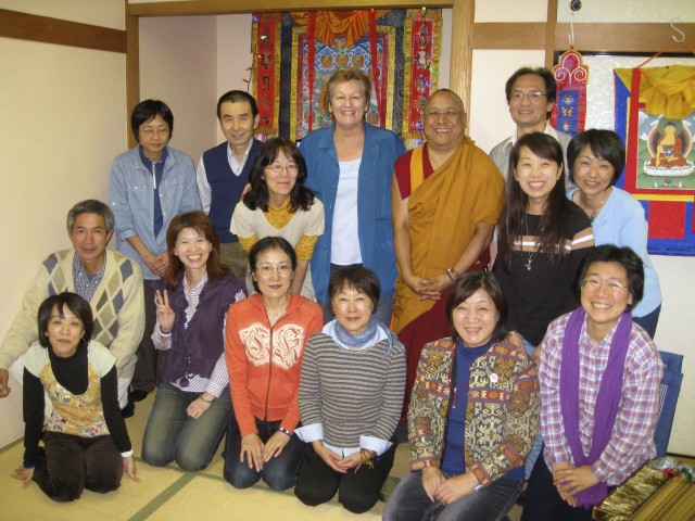 Ven. Pemba with the students of Do Ngak Sung Juk, Tokyo, Japan, October 2013 Photo by Doc O'Connor.
