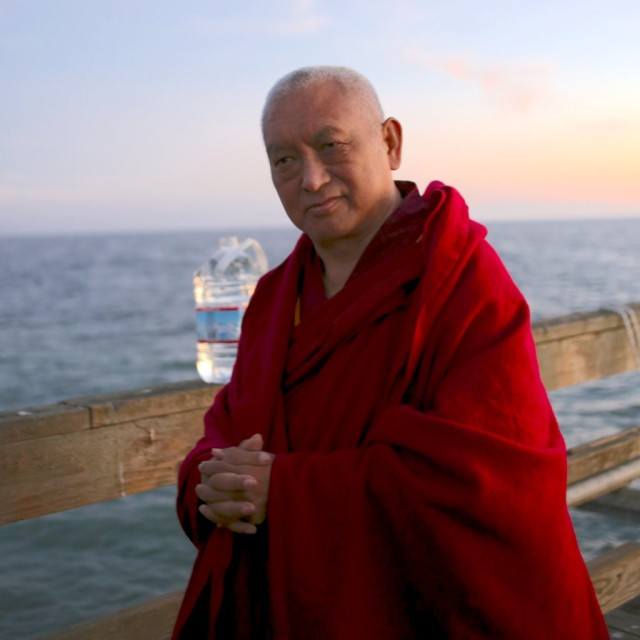 Lama Zopa Rinpoche and Pacific Ocean, Aptos, California, November 13, 2013. Photo by Ven. Thubten Kunsang.
