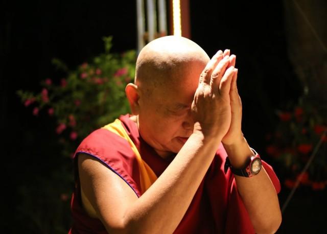 Lama Zopa Rinpoche doing animal liberation practice at Kachoe Dechen Ling, California, November 17, 2013. Photo by Ven. Roger Kunsang.