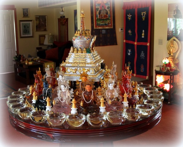 Altar for 21 Taras, Kachoe Dechen Ling, November 2013. Photo by Ven. Roger Kunsang.