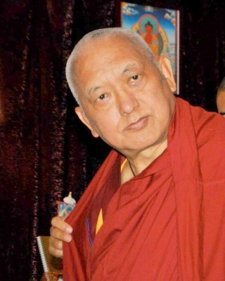 Lama Zopa Rinpoche at Amitabha long life initiation, Gyalwa Gyatso Buddhist Center, California, October 13, 2013. Photo courtesy of GGBC's Facebook page.