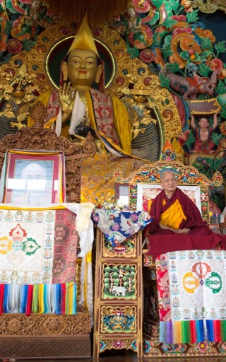 Lama Zopa Rinpoche teaching at Kopan course, Nepal, Novermber 2013. Photo by Ven. Thubten Kunsang.