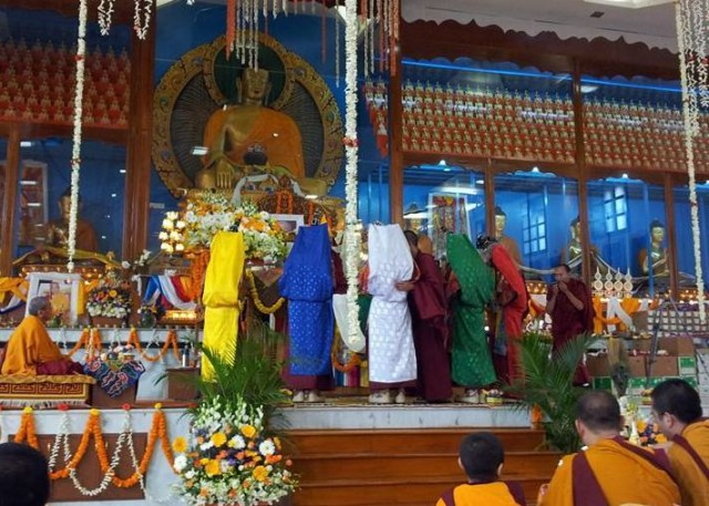 The five dakinis during the long life puja for Lama Zopa Rinpoche, Drati Khangstan, Sera Je Monastic University, India, December 22, 2013. Photo by Fabrizio Palloti.