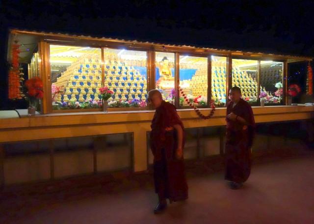 Lama Zopa Rinpoche circumambulating the 1000 buddhas at Kopan Monastery, Nepal, December 2, 2013. Photo by Ven. Roger Kunsang.