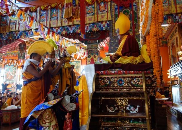 Tsog during long life puja for Lama Zopa Rinpoche, Kopan Monastery, Nepal, December 9, 2013. Photo by Ven. Roger Kunsang.