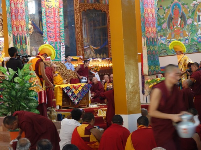 His Holiness the Dalai Lama's arrival at Sera Monastery, India, December 24, 2013. Photo by Ven. Roger Kunsang.