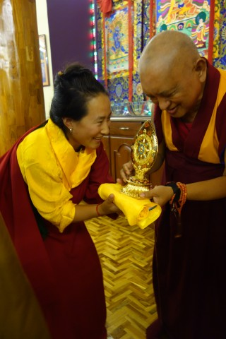 Khadro-la and Lama Zopa Rinpoche greeting each other at Sera Monastery, December 2013. Photo by Ven. Roger Kunsang