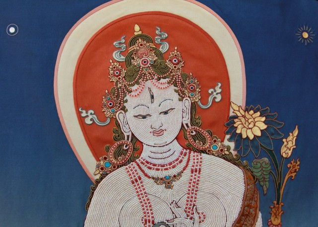 Detail of White Tara thangka, Nepal, December 2013. Photo by Ven. Roger Kunsang.
