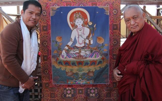 White Tara beaded thangka to be offered to His Holiness the Dalai Lama, November 2013. Photo by Ven. Roger Kunsang.