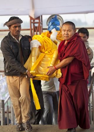 Maitreya Buddha statue from Maitreya School at Root Institute, Kushinagar, India, December 12, 2013. Photo by Andy Melnic.