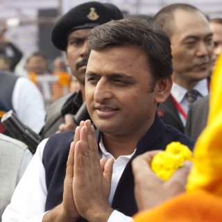 Uttar Pradesh Chief Minister Akhilesh Yadav, Kushinagar, India, December 13, 2013. Photo by Andy Melnic.