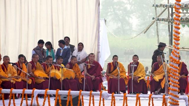 Monks from Kopan Monastery, Kushinagar, India, December 13, 2013. Photo by Andy Melnic.