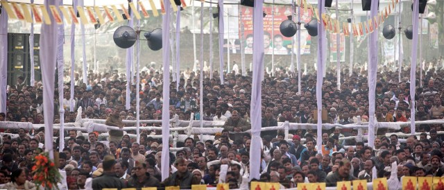 A view of the audience from the stage, Kushinagar, India, December 9, 2013. Photo by Andy Melnic.