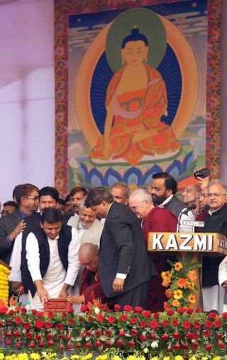 Laying the foundation stone, Kushinagar, India, December 13, 2013. Photo courtesy of Rigzin Samphel.