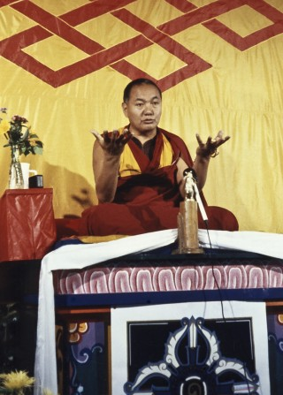 Lama Yeshe at Grizzly Lodge 1980. Photo by Tom Waggoner, courtesy of Lama Yeshe Wisdom Archive.