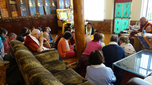 Directors FPMT centers in Europe making request to Lama Zopa Rinpoche, Sera Monastery, India, December 2013. Photo by Ven. Roger Kunsang.