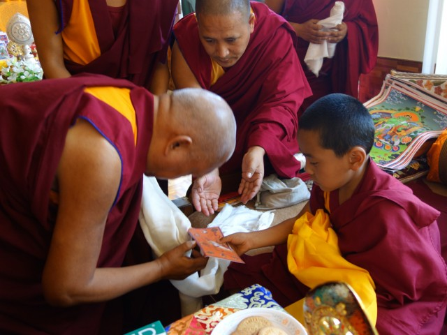 Lama Zopa Rinpoche with the tulku of Bakula Rinpoche, Sera Monastery, December 2013. Photo by Ven. Roger Kunsang.