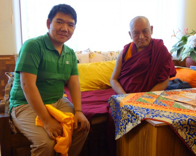 Lama Zopa Rinpoche meeting with Serkong Tsenshab Rinpoche, Sera Je Monastery, India, January 2014. Photo by Ven.Roger Kunsang.