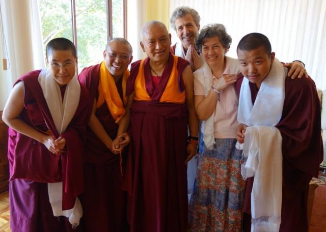 Lama Zopa Rinpochewitha group from Kurukulla Center in the US including the resident geshe, GesheTenley; SeraJeMonastery, India, January2014. Photo byVen.RogerKunsang.