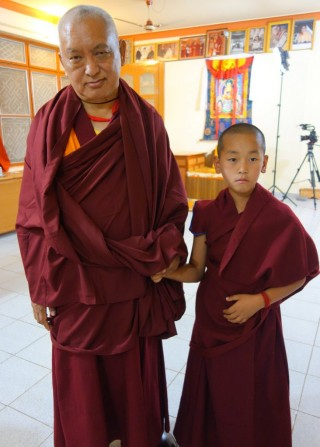 Lama Zopa Rinpoche with Ribur Rinpoche, Sera Je Monastery, India, January 2014. Photo by Ven. Roger Kunsang.