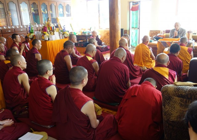During the lung of HH Trijang Rinpoche's sum bum given by Khyongla Rato Rinpoche, Sera Je Monastery, India, January 2014. Photo by Ven. Roger Kunsang.