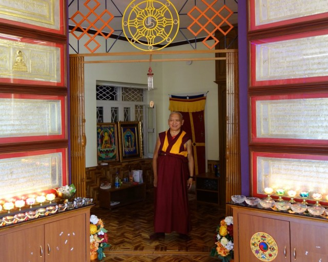 Lama Zopa Rinpoche, Sera Je Monastery, India, January 2014. Photo by Ven. Roger Kunsang.