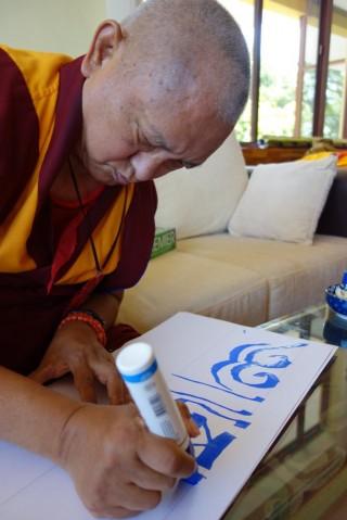 Lama Zopa Rinpoche, Sera Monastery, India, January 2014. Photo by Ven. Roger Kunsang.