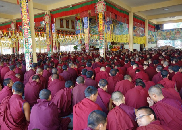 Long life puja, Sera Je Monastery, India, January 2014. Photo by Ven. Roger Kunsang.