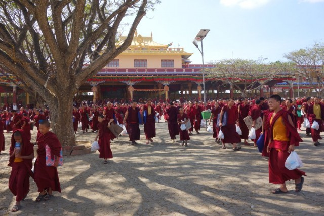 Monks leaving the long life puja, Sera Je Monastery, India, January 2014. Photo by Ven. Roger Kunsang.