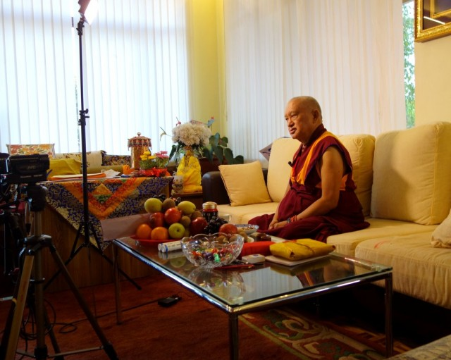 Lama Zopa Rinpoche explaining the path to enlightenment and how fortunate all are for a video interview, Osel Labrang, Sera Je Monastery, India, January 2014. Photo by Ven. Roger Kunsang.