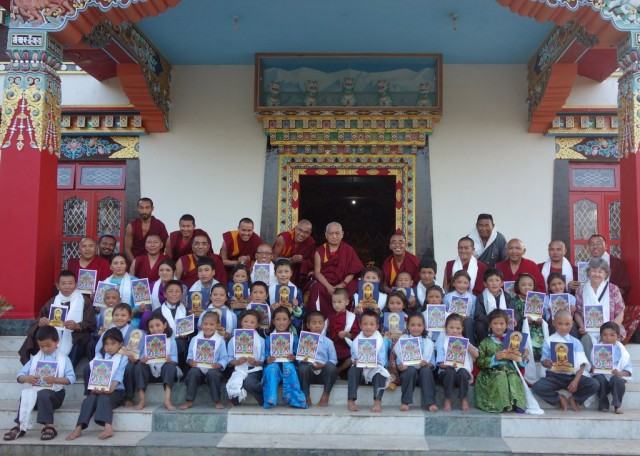 Rinpoche with the children from the Ngari Institute of Buddhist Dialectics, Sera Monastery, India, January 2014. Photo by Ven.Roger Kunsang.