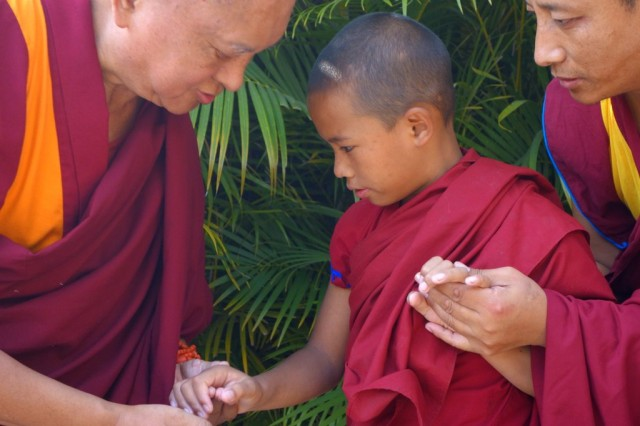 Lama Zopa Rinpochetalkingto thereincarnationofGenLamrimpa, Sera Monastery, India, January 2014. Photo by Ven. RogerKunsang