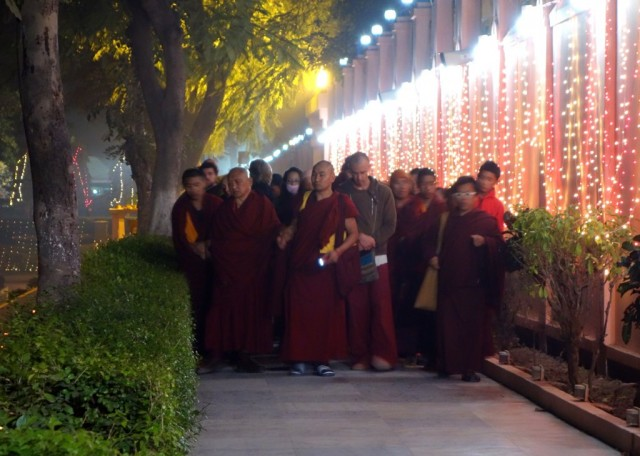 Lama Zopa Rinpoche doing korwa at the Mahabodhi Temple, Bodhgaya, India, January 2014. Photo by Ven. Roger Kunsang.