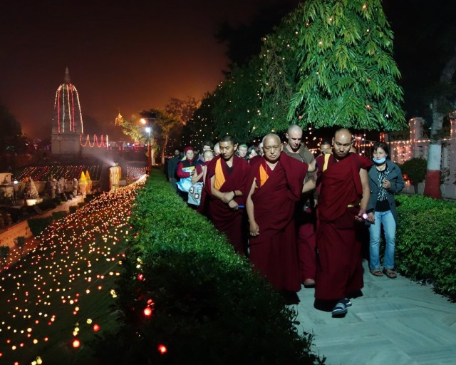 Lama Zopa Rinpoche doing korwa around Mahabodhi Stupa at night, Bodhgaya, India, January 2014. Photo by Ven. Roger Kunsang.