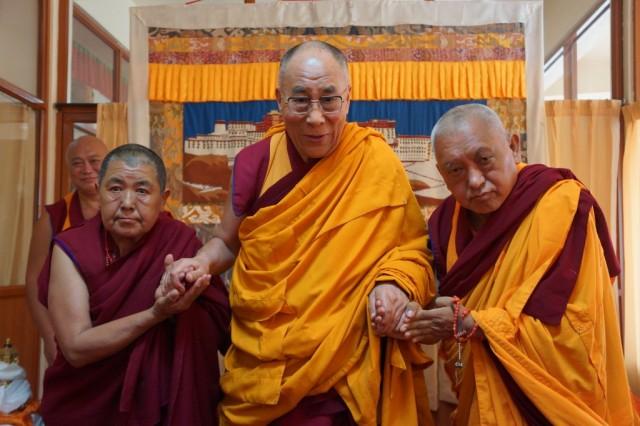 His Holiness the Dalai Lama with Lama Zopa Rinpoche and Ani Ngawang Samten, Sera Monastery, India, January 2, 2014. Photo by Bill Kane.