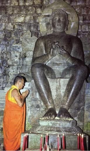Lama Yeshe with Maitreya statue, Indonesia, 1979