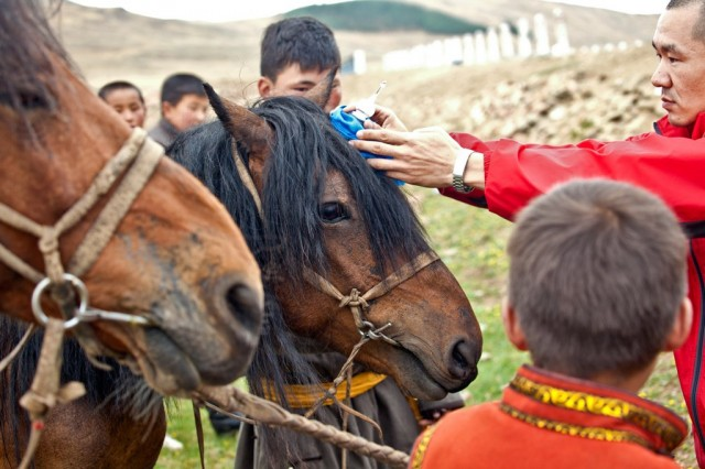 Roadside blessing with relics in Mongolia, 2012. Photo by Andy Melnic.