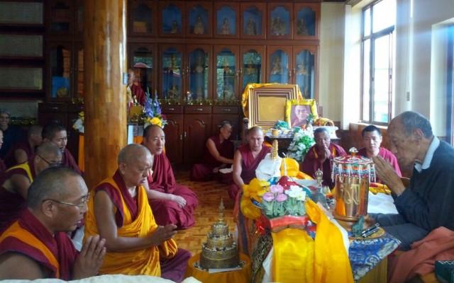 Dagri Rinpoche, Lama Zopa Rinpoche, Ozer Rinpoche and Khyongla Rato Rinpoche, Osel Labrang, Sera Je Monastery, India, January 2014. Photo by Gyalten Samten.