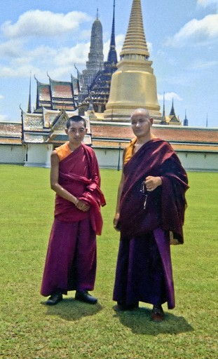 The lamas at the Golden Stupa, Bangkok, 1974