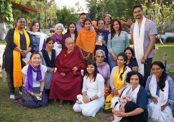Lama Zopa Rinpoche with Choe Khor Sum Ling students at the Jangchup Lamrim teachings, Sera Je Monastery, India, December 2013. Photo by Bill Kane.