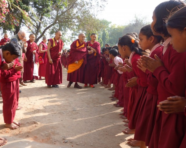 Lama Zopa Rinpoche arriving at Maitreya School, a project of Root Institute, Bodhgaya, January 2014. Photo by Ven. Roger Kunsang.