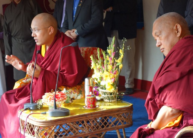 His Holiness the Karmapa and Lama Zopa Rinpoche at Maitreya School, Root Institute, Bodhgaya, India, January 31, 2014. Photo by Ven. Roger Kunsang.