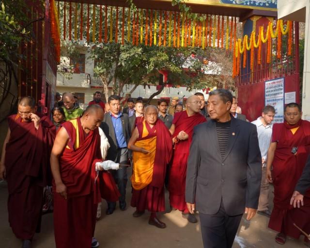 His Holiness the Karmapa and Lama Zopa Rinpoche at Root Institute, Bodhgaya, India, January 31, 2014. Photo by Ven. Roger Kunsang.