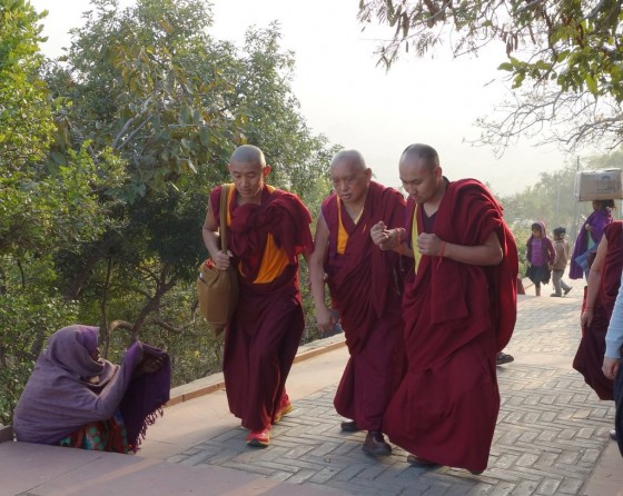"The walk up to Vulture's Peak, where the Buddha taught, is a long gradual climb. ""Rinpoche did well,"" reported Ven. Roger Kunsang, Bihar, India, February 2014. Photo by Ven. Roger Kunsang."