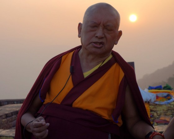 As the sun starts to disappear on Rajgir, Lama Zopa Rinpoche's teaching continues. February 2, 2014. Photo by Ven.Roger Kunsang.