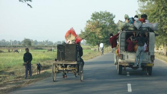 Driving to Nalanda, Bihar, India, February, 2014. Photo by Ven. Roger Kunsang.