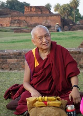 "Lama Zopa Rinpoche givingtheoraltransmissionforLamaTsongkhapa's""DependentArising"" at Nalanda, Bihar, India, February 2014. Photo by Ven. Roger Kunsang."