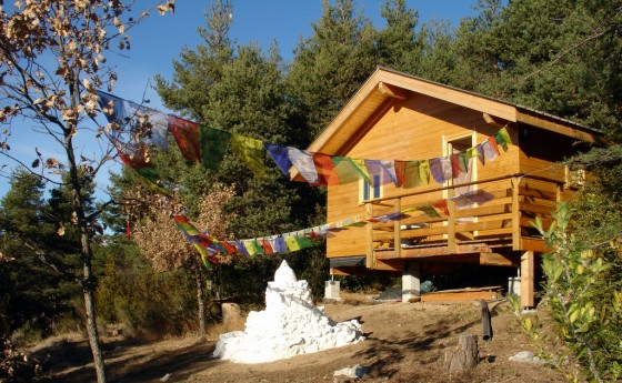 Dechen Ling, the first meditation chalet at Thakpa Kachoe Retreat Land, Villatale, France. Photo courtesy of Thakpa Kachoe Retreat Land.